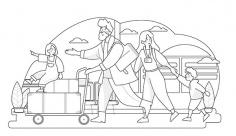 وکتور مسافرت خانوادگی با هواپیما