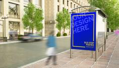 موکاپ طرح بنر تبلیغاتی ایستگاه اتوبوس
