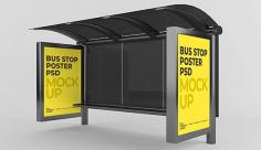موکاپ بنر تبلیغاتی ایستگاه اتوبوس شهری