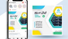 طرح لایه باز بنر اینستاگرام شرکت ایران سرور