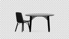 عکس برش خورده سه بعدی میز و صندلی مشکی