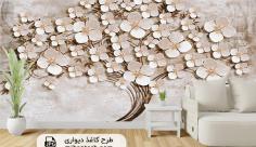 پوستر کاغذ دیواری سه بعدی طرح گل سفید