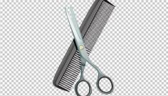 عکس برش خورده شانه و قیچی آرایشگاه مردانه