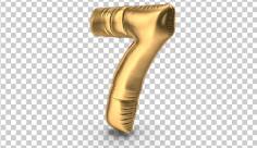عکس برش خورده سه بعدی بادکنک شکل عدد هفت طلایی