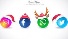 مجموعه آیکن و لوگو شبکات اجتماعی کریسمسی