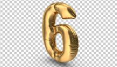 عکس برش خورده سه بعدی بادکنک شکل عدد شش طلایی