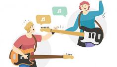وکتور گروه نوازندگان گیتار برقی