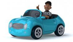 عکس رانندگی با ماشین آبی