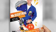طرح لایه باز پوستر خدمات برق کشی ساختمان