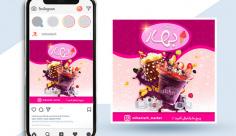 طرح لایه باز بنر اینستاگرام بستنی فروشی بهار