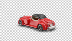 عکس برش خورده سه بعدی ماشین قرمز