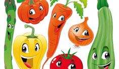وکتور کاراکترمیوه و سبزیجات