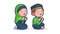 وکتور دانش اموز در حال نماز خواندن