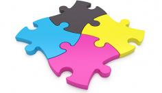 عکس نماد رنگ چاپ و تبلیغات به شکل پازل