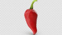 تصویر دوربری سه بعدی فلفل قرمز