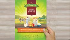 طرح لایه باز تراکت و پوستر تبلیغاتی محصولات محلی و لبنی