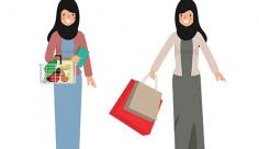 وکتور کاراکتر زن با حجاب و خرید