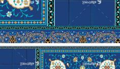 طرح بنر کاشی کاری یا مهدی ادرکنی با تصویر امام خمینی و رهبری