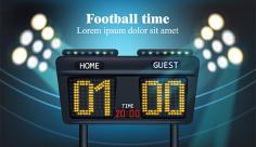 طرح وکتور ورزشی تابلو اعلام گل های فوتبال