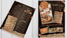 طرح لایه باز تراکت پشت رو و منوی پیتزا و فست فود