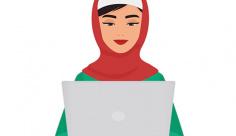 وکتور کاراکتر زن با حجاب و کار با رایانه