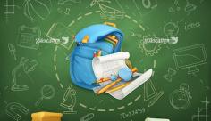 طرح وکتور با موضوع کیف مدرسه و ترسیم