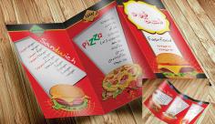طرح بروشور منوی فست فود و پیتزا