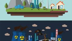 وکتورمحیط زیست سالم و آلوده