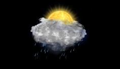 آیکن متحرک هواشناسی خورشید پشت ابر و بارش باران