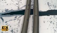 فیلم هوایی جاده و منطقه برفی