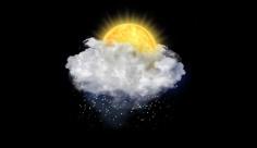 آیکن متحرک هواشناسی خورشید پشت ابرو بارش برف