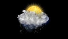 آیکن متحرک هواشناسی خورشید پشت ابر و بارش برف باران