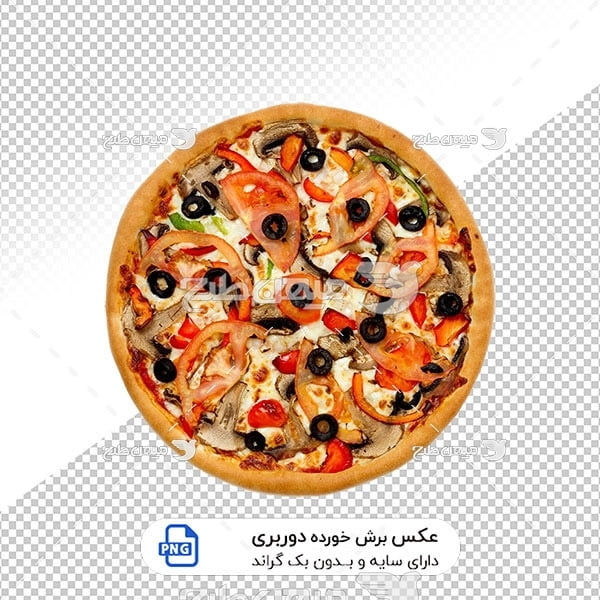 عکس برش خورده پیتزا قارچ و گوشت