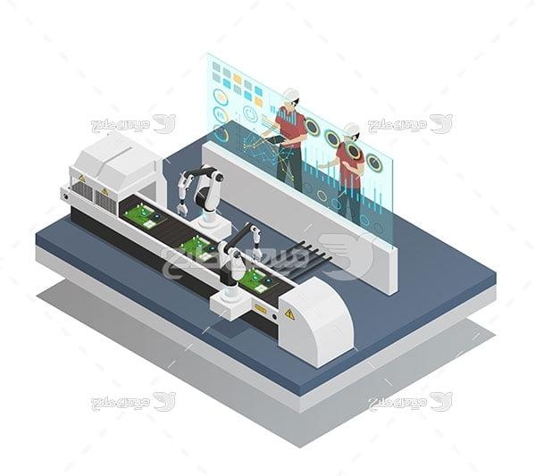 وکتور خط تولید رباتیک