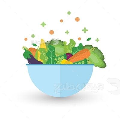 وکتور کاراکتر غذا ظرف سبزیجات