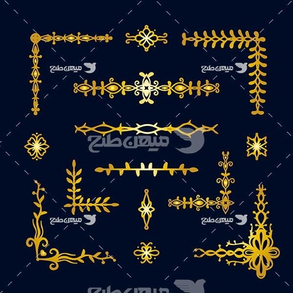 وکتور حاشیه اسلیمی و تذهیب طلایی رنگ