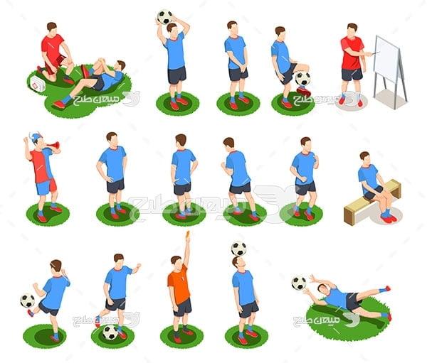 وکتور تمرین ورزش فوتبال