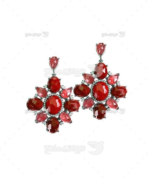 عکس گوشواره با سنگ یاقوت قرمز