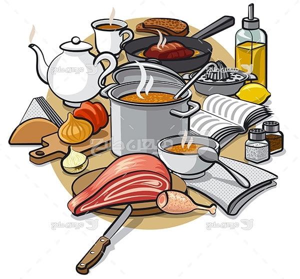 وکتور مواد غذایی و آشپزخانه