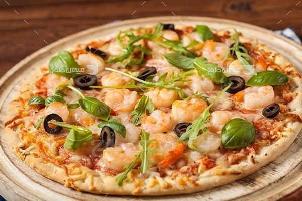 عکس تبلیغاتی غذاپیتزا میگو