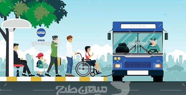 وکتور اتوبوس مخصوص سوارشدن افراد معلول