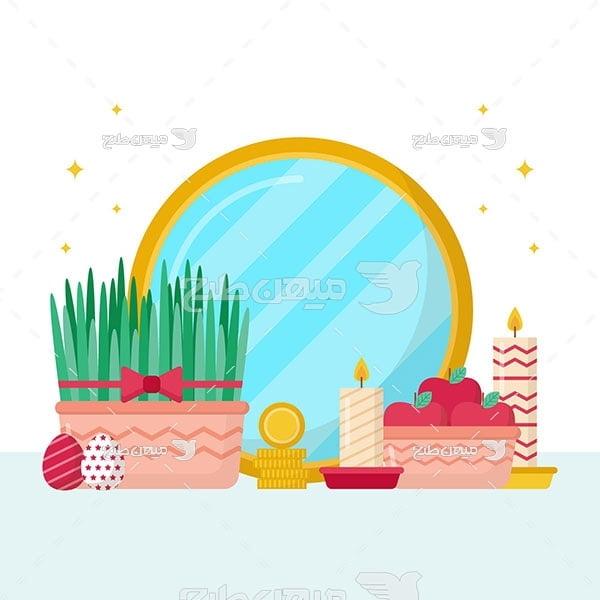 وکتور سبزه و سیب عید