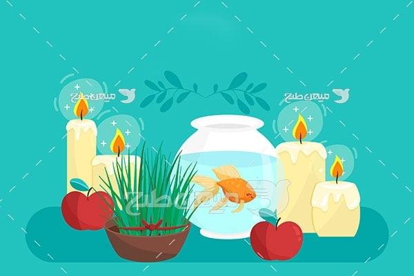 وکتور شمع و تنگ ماهی عید