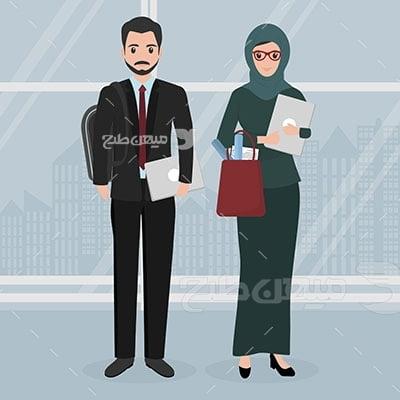 وکتور کاراکتر حجاب و تیپ رسمی