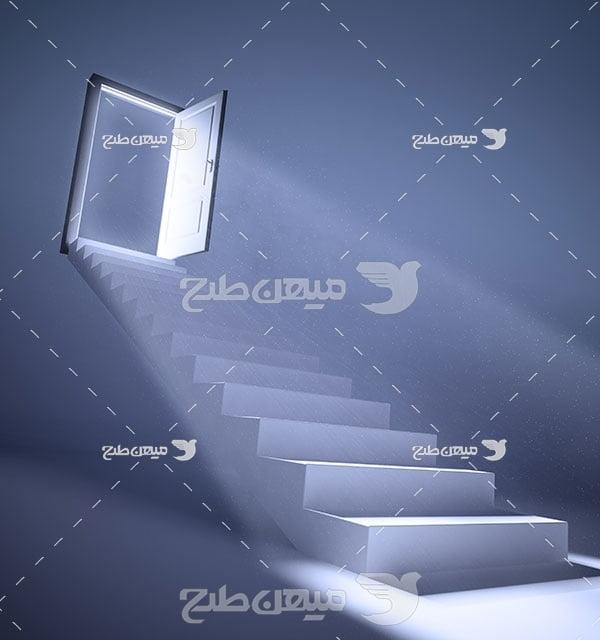 عکس پله مسیر به سوری نور شب