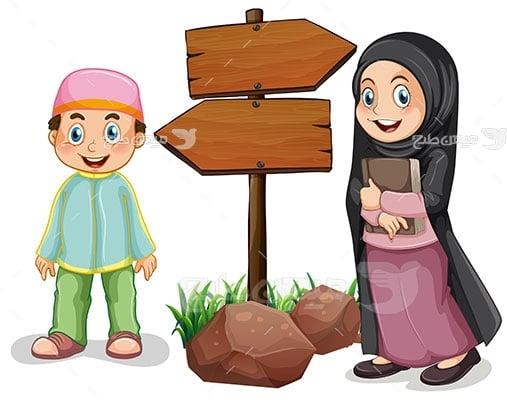 وکتور کاراکتر حجاب دانش آموز