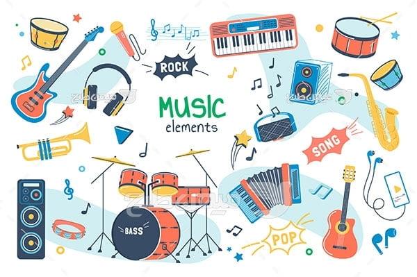 وکتور انواع ساز و آلات موسیقی