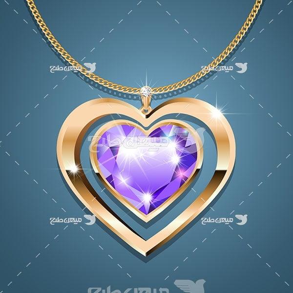 وکتور گردنبند طلا با نگین الماس