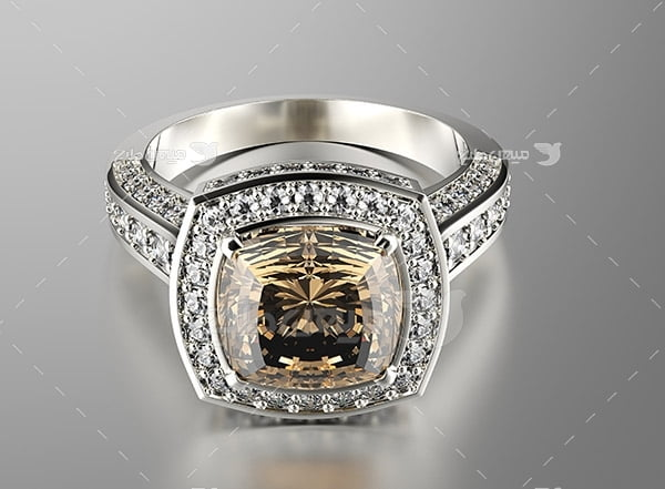 عکس انگشتر نقره با نگین الماس ظریف