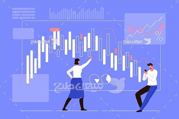 وکتور تحلیل نمودار رشد و افت بورس